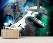 Spaceship chase mural wallpaper living room preview