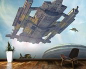 Spaceship and futuristic city wallpaper mural kitchen preview