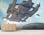Spaceship and futuristic city wallpaper mural living room preview
