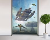 Spaceship and futuristic city wallpaper mural in-room view