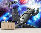 Spaceship and supernova wallpaper mural living room preview