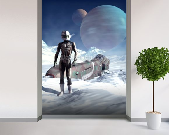 Crash landing mural wallpaper room setting