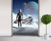 Crash landing mural wallpaper in-room view