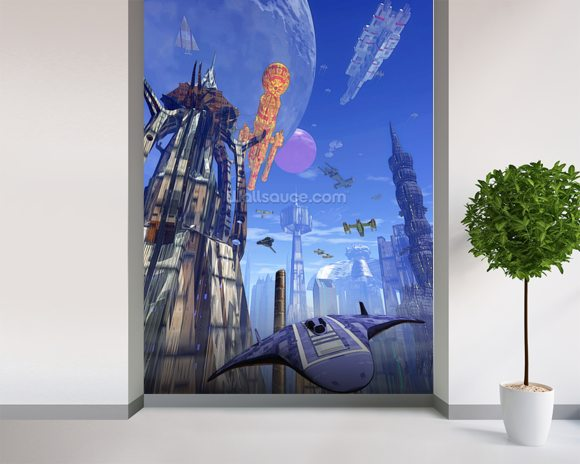 Futuristic fuel station wall mural room setting