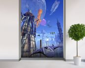 Futuristic fuel station wall mural in-room view
