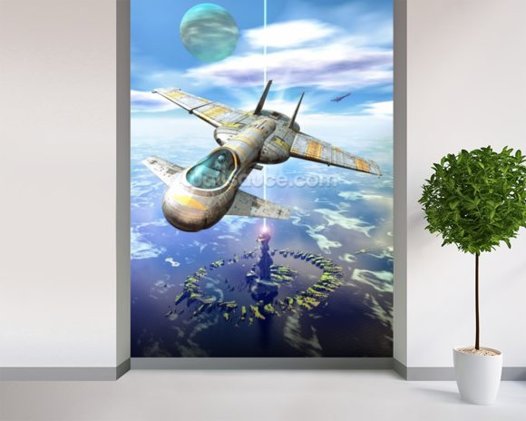 Sea space port wallpaper mural room setting