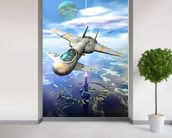 Sea space port wallpaper mural in-room view