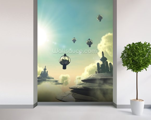 Cloud city wallpaper wall mural wallsauce for Cloud wallpaper mural