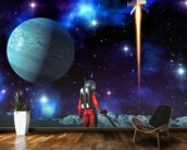 Astronaut and alien planet wall mural kitchen preview