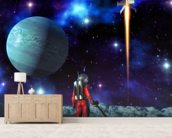 Astronaut and alien planet wall mural living room preview