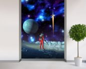 Astronaut and alien planet wall mural in-room view