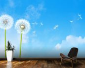 Dandelion Blue Sky wallpaper mural kitchen preview