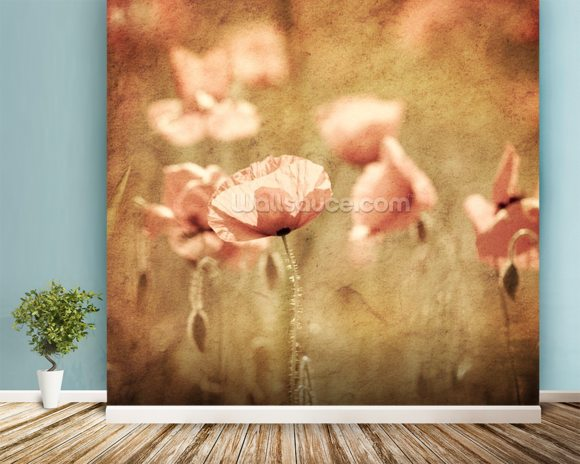 Poppies - Pink mural wallpaper room setting
