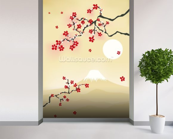 Japanese cherry blossom wallpaper wall mural wallsauce usa for Asian wallpaper mural