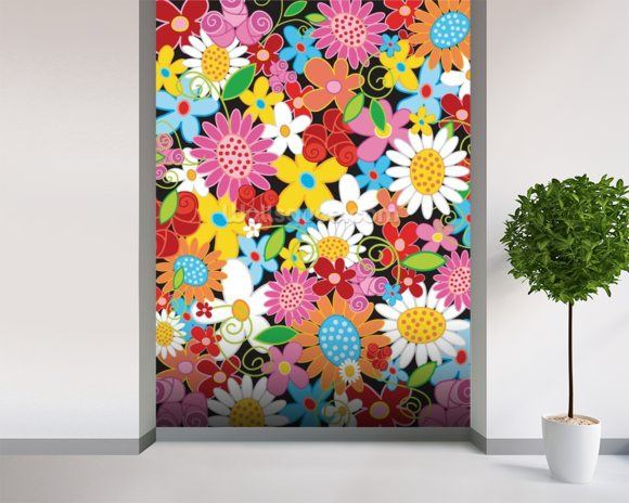 Spring Flower Power wallpaper mural room setting