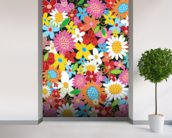 Spring Flower Power wallpaper mural in-room view