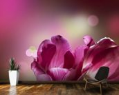 Purple Flowers mural wallpaper kitchen preview