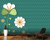Poppies on Teal Illustration wallpaper mural kitchen preview