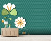 Poppies on Teal Illustration wallpaper mural living room preview