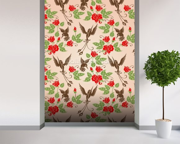 Birds and Roses mural wallpaper room setting