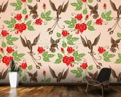 Birds and Roses mural wallpaper kitchen preview