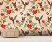 Birds and Roses mural wallpaper living room preview