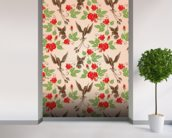 Birds and Roses mural wallpaper in-room view