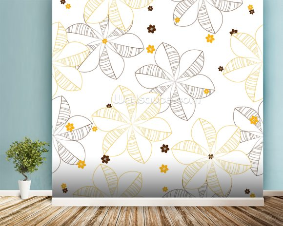 Flowers Illustration wallpaper mural room setting