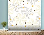 Flowers Illustration wallpaper mural in-room view