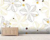 Flowers Illustration wallpaper mural living room preview