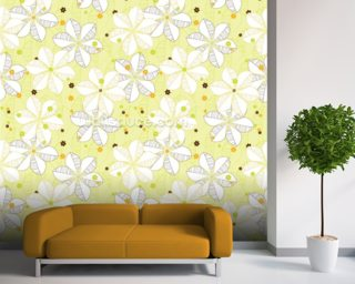 Abstract Floral - Lime Wallpaper Mural Wall Murals Wallpaper