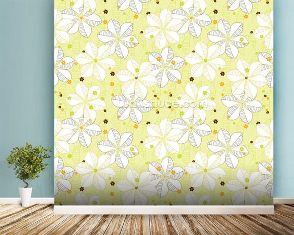 Abstract Floral - Lime mural wallpaper room setting