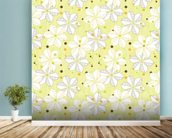 Abstract Floral - Lime mural wallpaper in-room view