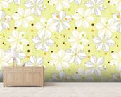 Abstract Floral - Lime mural wallpaper living room preview