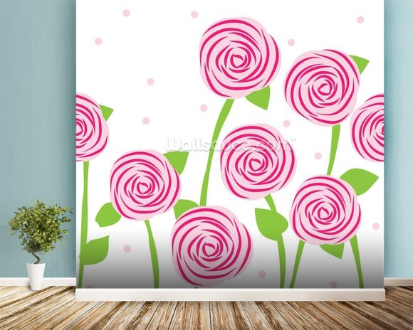 Pattern of Roses wall mural room setting