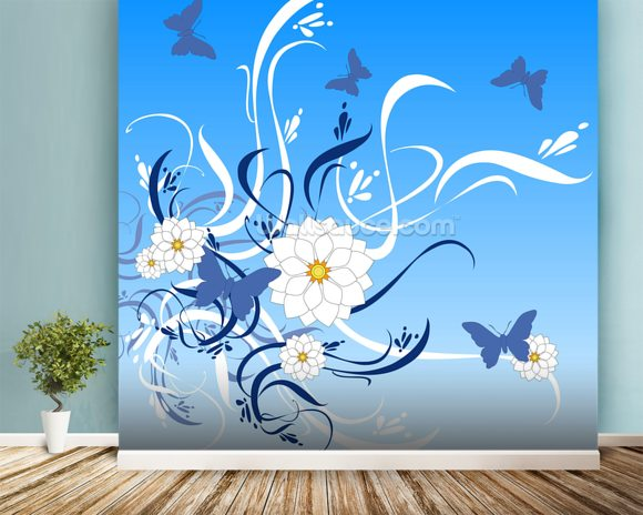 Butterfly Floral wall mural room setting