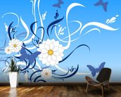 Butterfly Floral wall mural kitchen preview