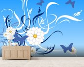 Butterfly Floral wall mural living room preview