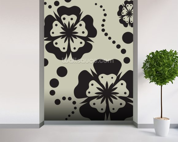Black Poppies wallpaper mural room setting