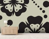Black Poppies wallpaper mural living room preview
