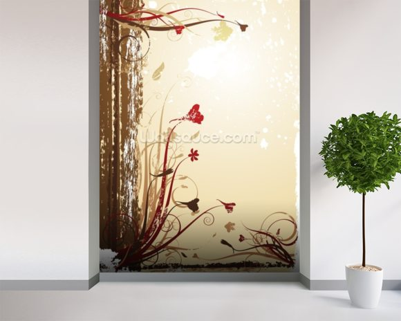 Autumnal Flowers wall mural room setting