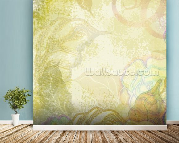 Flower Design mural wallpaper room setting