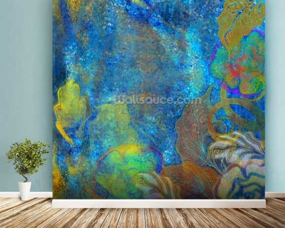 Floral Design Blue wall mural room setting