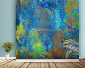 Floral Design Blue wall mural in-room view