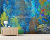 Floral Design Blue wall mural living room preview