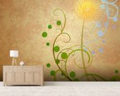 Dandelion Illustration wallpaper mural living room preview