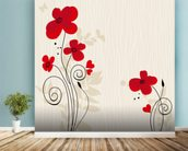 Romantic Floral Illustration wall mural in-room view