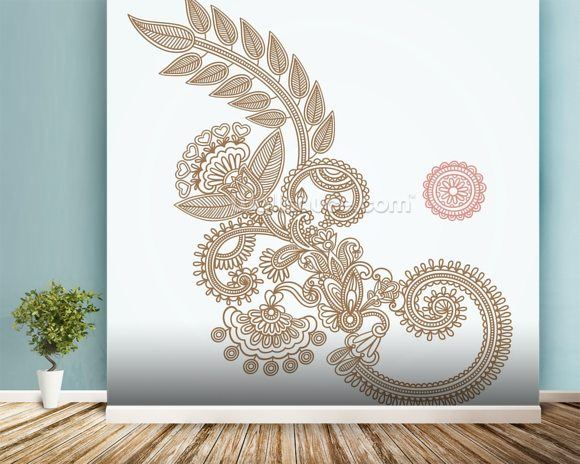 Henna Design wallpaper mural room setting