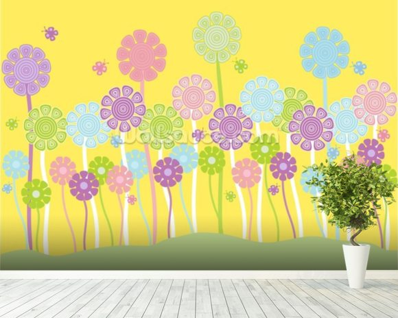Pastel Flowers Nursery mural wallpaper room setting