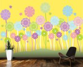 Pastel Flowers Nursery mural wallpaper kitchen preview